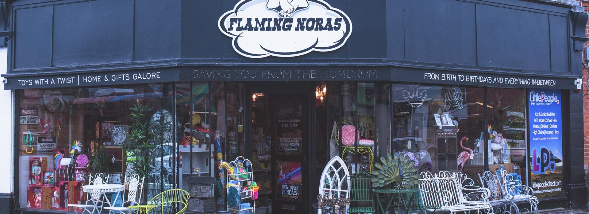 Portfolio - Flaming Noras - Shop Sign