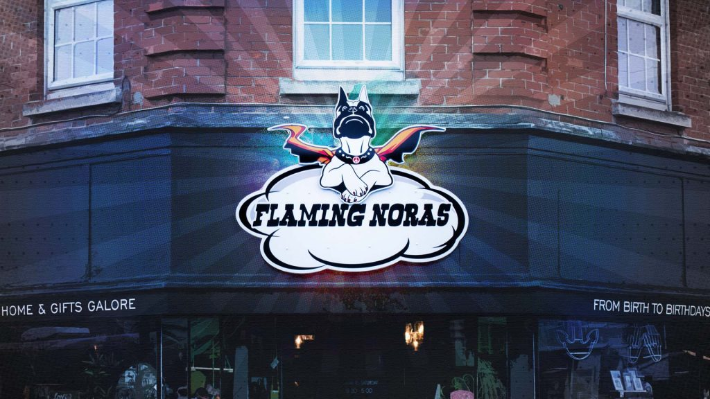 Flaming Nora Shop Sign by Insignia Signs Poole