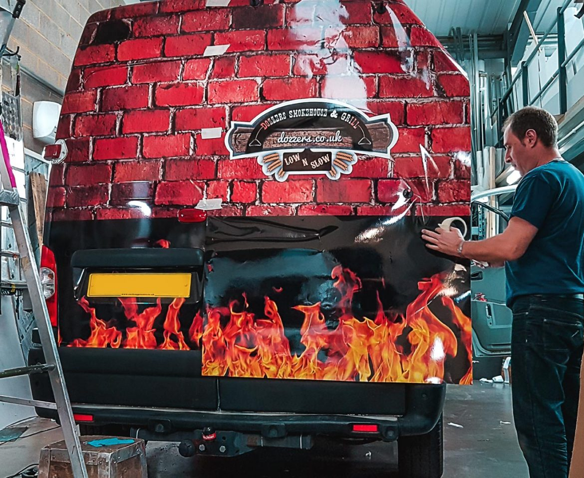 Portfolio - Dozzers Smokehouse and Grill Van - Vehicle Wrap in Progress