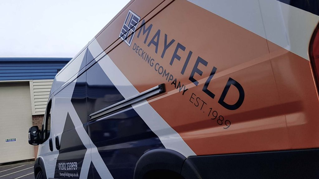 Portfolio - Mayfield Decking Company - Vehicle Wrap Close up