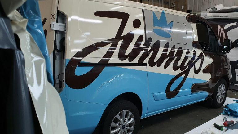Jimmy's Iced Coffee Blue White Brown Van in Workshop - Insignia Signs Poole Bournemouth