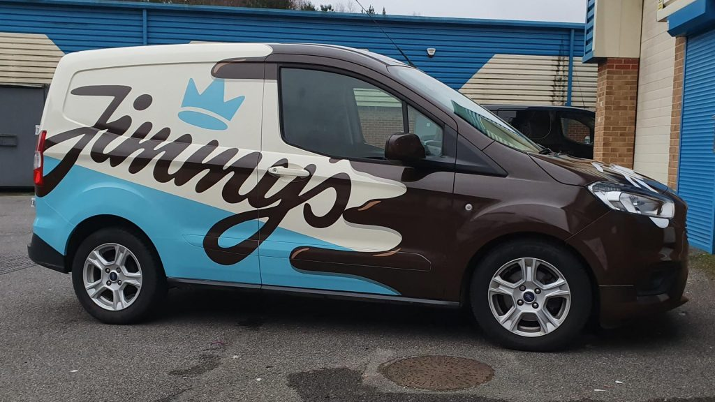 Jimmy's Iced Coffee Blue White Brown Van Side - Insignia Signs Poole Bournemouth
