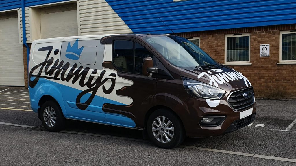 Jimmy's Iced Coffee Blue White Brown Van Side and Front - Insignia Signs Poole Bournemouth