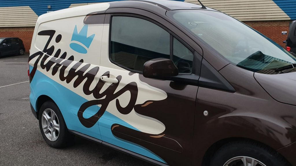 Jimmy's Iced Coffee Blue White Brown Van Side Close Up - Insignia Signs Poole Bournemouth